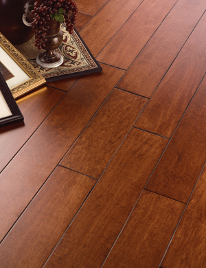 Natural cork carriage house distressed maple painted for Carriage house flooring